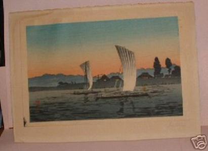 Shotei Takahashi: Homeward bound boats- blue and golden sky - Japanese Art Open Database