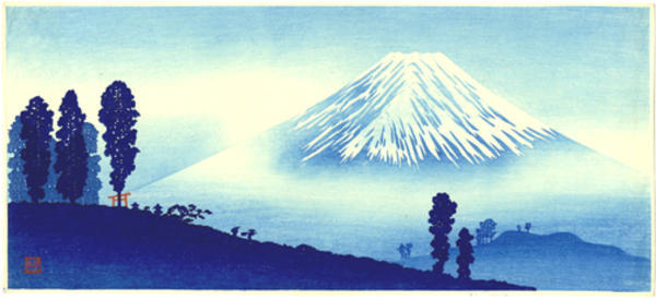 Shotei Takahashi: M14- Mt Fuji in mist- mountain pass in front- Variant - Japanese Art Open Database