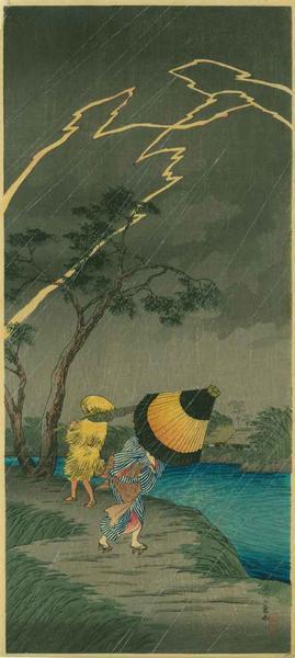 Shotei Takahashi: M24- Rain at Tateishi - Japanese Art Open Database