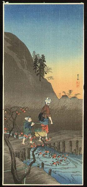 Shotei Takahashi: M-25 Late Autumn in a village- peasant girl - Japanese Art Open Database