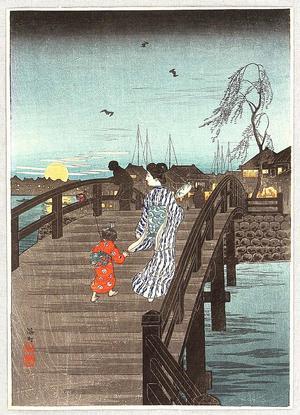 Shotei Takahashi: Moonrise at Minatomachi - Japanese Art Open Database