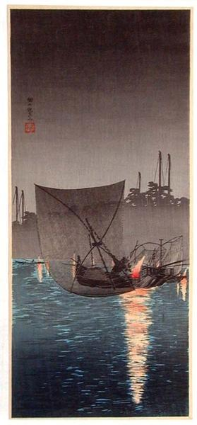 Shotei Takahashi: Night Fishing at Tsukuda - Japanese Art Open Database