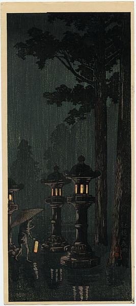 Shotei Takahashi: Night rain at a shrine - Japanese Art Open Database