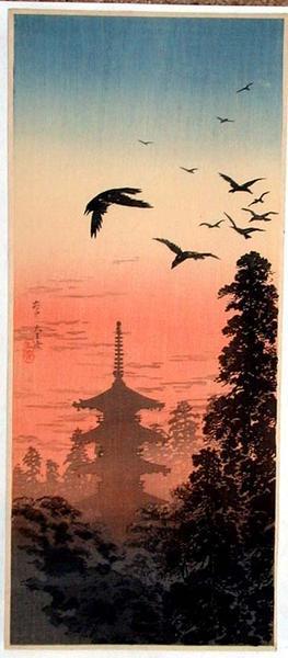 Shotei Takahashi: Pagoda and Crows at Sunset - Japanese Art Open Database