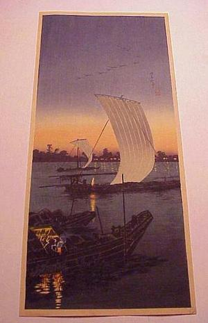 Shotei Takahashi: River Boats in the Evening - Japanese Art Open Database