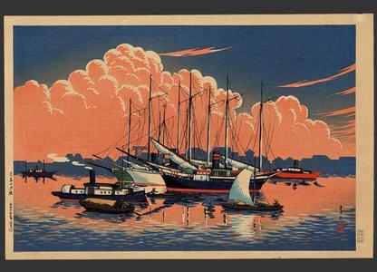 Shotei Takahashi: Sunset glow at Tsukishima - Japanese Art Open Database
