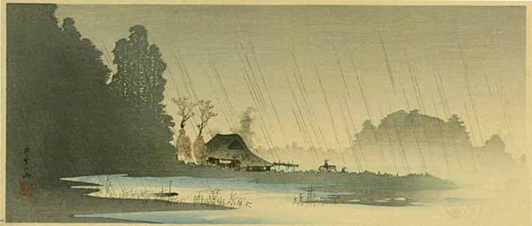 Shotei Takahashi: Village in the Rain- Igusa - Japanese Art Open Database