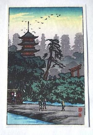 Shotei fake: Shrine by the river - Japanese Art Open Database