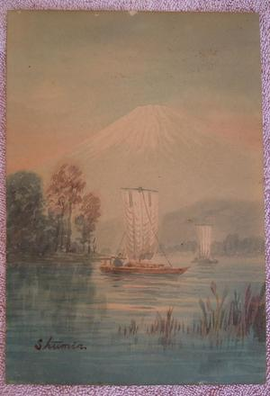 Shumin: Sailboat on a River by Mt Fuji - Japanese Art Open Database