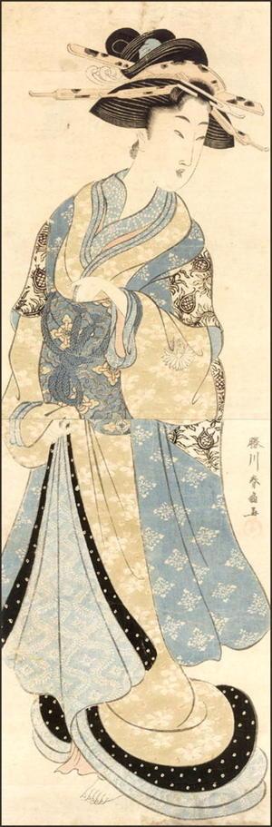 Katsukawa Shunsen: Standing Courtesan 1 - Japanese Art Open Database