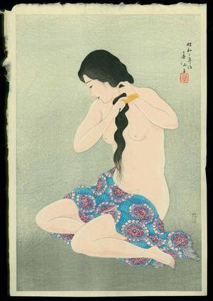 Natori Shunsen: Combing her hair - Japanese Art Open Database