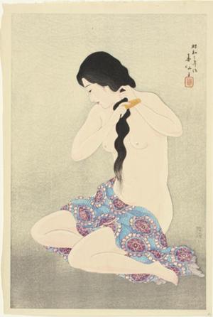 名取春仙: Combing her hair - Japanese Art Open Database