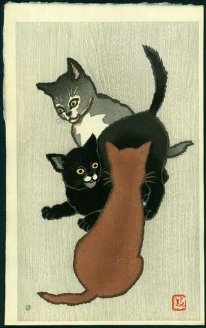 Natori Shunsen: Three Kittens Playing - Japanese Art Open Database