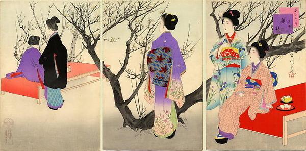 宮川春汀: February — 其二 観梅 - Japanese Art Open Database