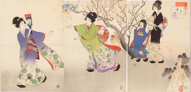 宮川春汀: January — 其一 追羽子 - Japanese Art Open Database
