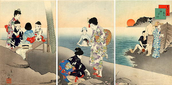 Miyagawa Shuntei: July — 其七 海水浴 - Japanese Art Open Database