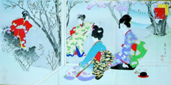 宮川春汀: March — 其三 桜あそび - Japanese Art Open Database