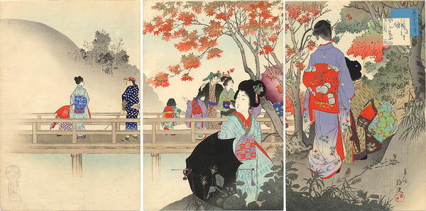 宮川春汀: October — 其十 紅葉 - Japanese Art Open Database