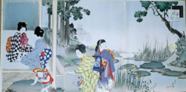宮川春汀: September — 其九 秋の庭 - Japanese Art Open Database