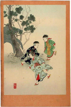 宮川春汀: Hopping on one leg - Japanese Art Open Database