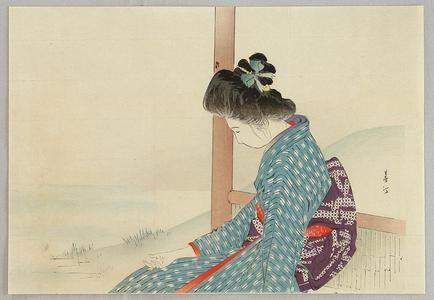 宮川春汀: Beauty by a Lake - Japanese Art Open Database