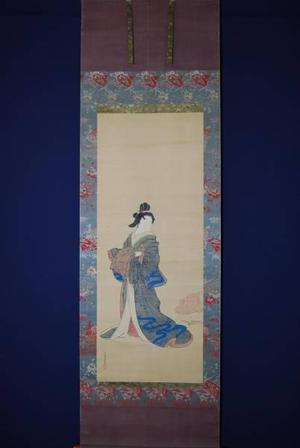 宮川春汀: Bijin Holding a Kimono - Japanese Art Open Database