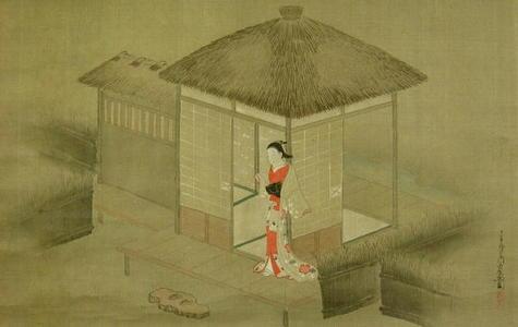宮川春汀: Bijin on an Engawa - Japanese Art Open Database