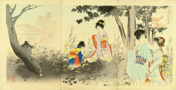 宮川春汀: Autumn flowers - Japanese Art Open Database
