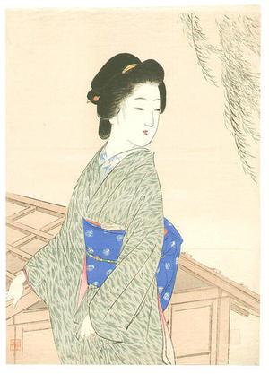 Suzuki Kason: Bijin and Willow Tree - Japanese Art Open Database