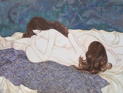 Takasawa Keiichi: Woman and Woman- oil painting — 女と女 - Japanese Art Open Database