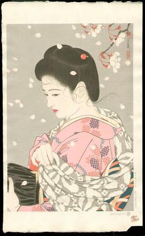Tatsumi Shimura: Hanafubuki (Falling Cherry Blossoms) — 花吹雪 - Japanese Art Open Database