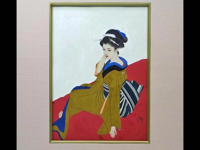 Tatsumi Shimura: Bijin on red seat - Japanese Art Open Database