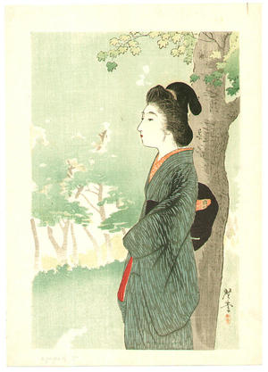 月岡耕漁: Beauty and Red Maple - Japanese Art Open Database