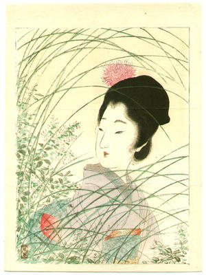Tsukioka Kogyo: Beauty in the grass - Japanese Art Open Database