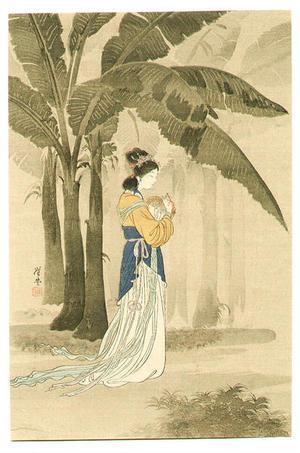 月岡耕漁: Chinese Lady under Banana Trees - Japanese Art Open Database