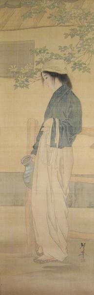 Tsukioka Kogyo: Girl carrying water-jug - Japanese Art Open Database