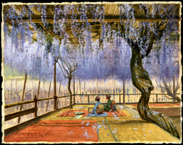 石川寅治: Picnic under Wisteria Blossoms - Japanese Art Open Database
