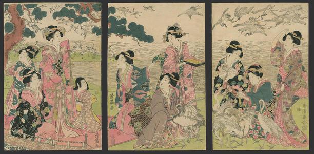 Torii Kiyomine: Bijin tying paper wish slips to the cranes - Japanese Art Open Database