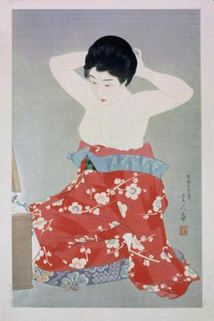 鳥居言人: Make-up (At the Mirror) — 化粧 - Japanese Art Open Database