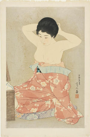 Torii Kotondo: Make-up (At the Mirror) — 化粧 - Japanese Art Open Database