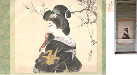 Torii Kotondo: Woman in a crane patterned kimono in front of a flowering plum tree - Japanese Art Open Database