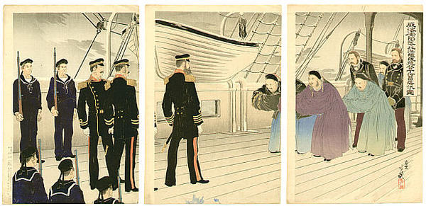 Migita Toshihide: Admiral Ting Ju-chang and Admiral Ito - Japanese Art Open Database