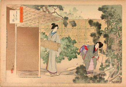 Mizuno Toshikata: Hanging a bamboo blind - Japanese Art Open Database