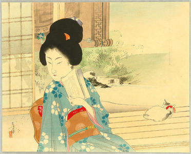 Mizuno Toshikata: Beauty and Cat on Balcony - Japanese Art Open Database