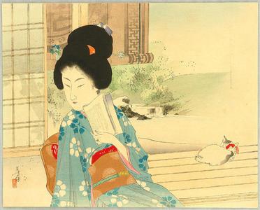 水野年方: Beauty and Cat on Balcony - Japanese Art Open Database