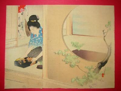 Mizuno Toshikata: Bijin cleaning - Japanese Art Open Database