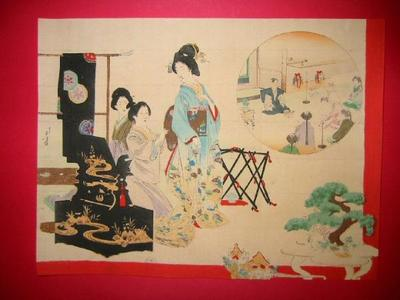 水野年方: Bijin dressing in Kimono - Japanese Art Open Database