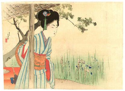 Mizuno Toshikata: Girl in Iris Garden - Japanese Art Open Database