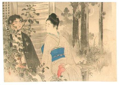 Mizuno Toshikata: Shinobi Oto- A couple is sitting in a garden in the evening - Japanese Art Open Database