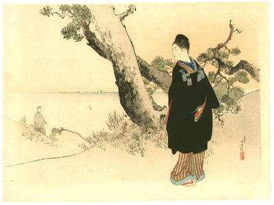 Mizuno Toshikata: Wife and Husband viewing the sea - Japanese Art Open Database
